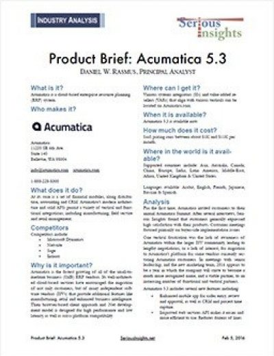 Acumatica 5.3 Product Brief