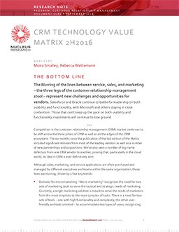 CRM Technology Value Matrix 2H 2016