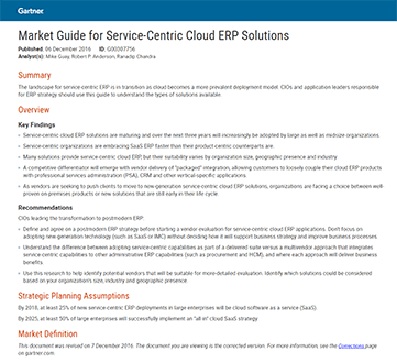 Market Guide for Service-Centric Cloud ERP Solutions