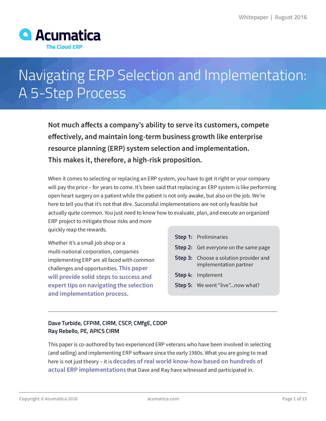 Navigating ERP Selection and Implementation: A 5-Step Process, page 0