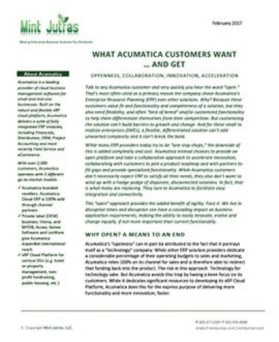 What Acumatica Customers Want…and Get