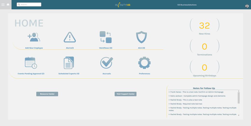 Admin Portal Homepage