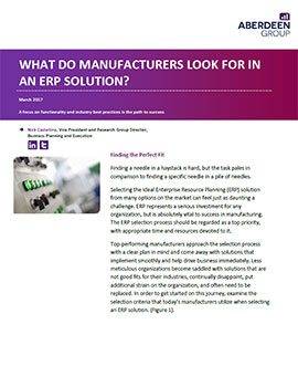 What do manufacturers look for in an ERP solution?