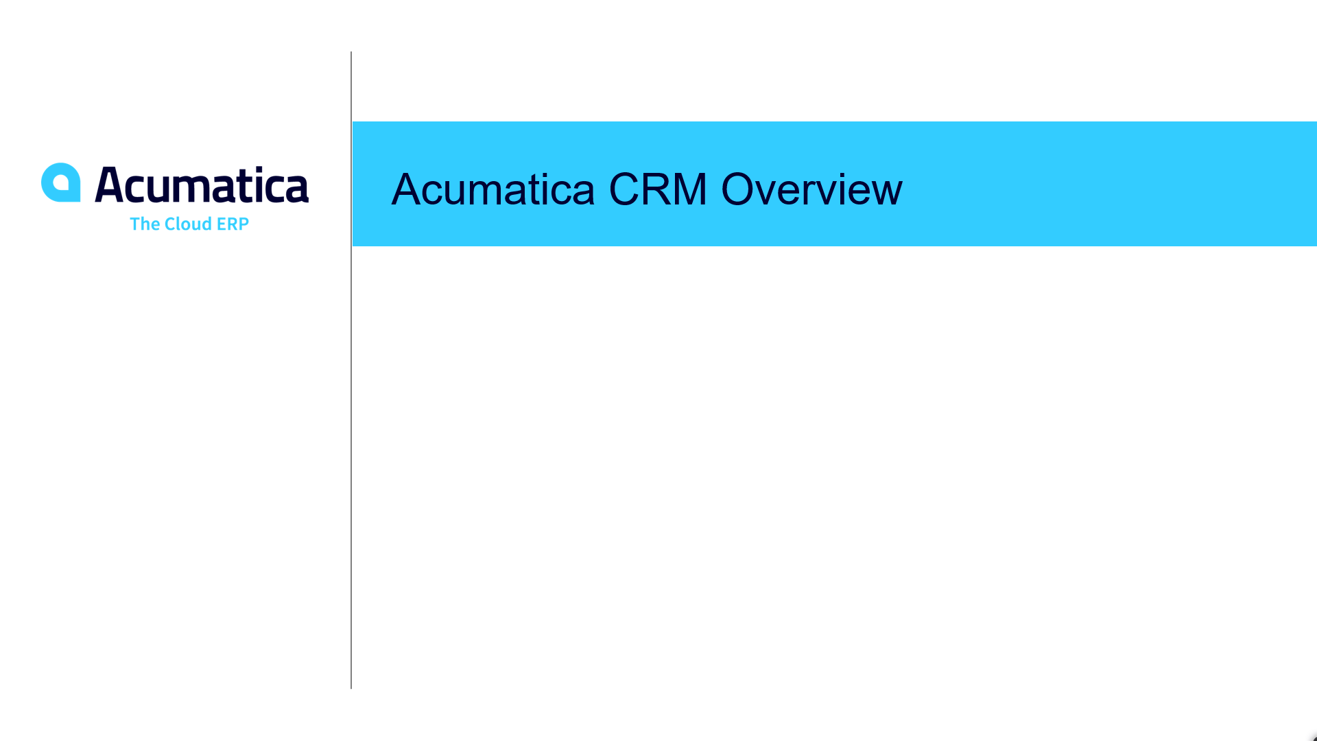 Acumatica CRM Overview