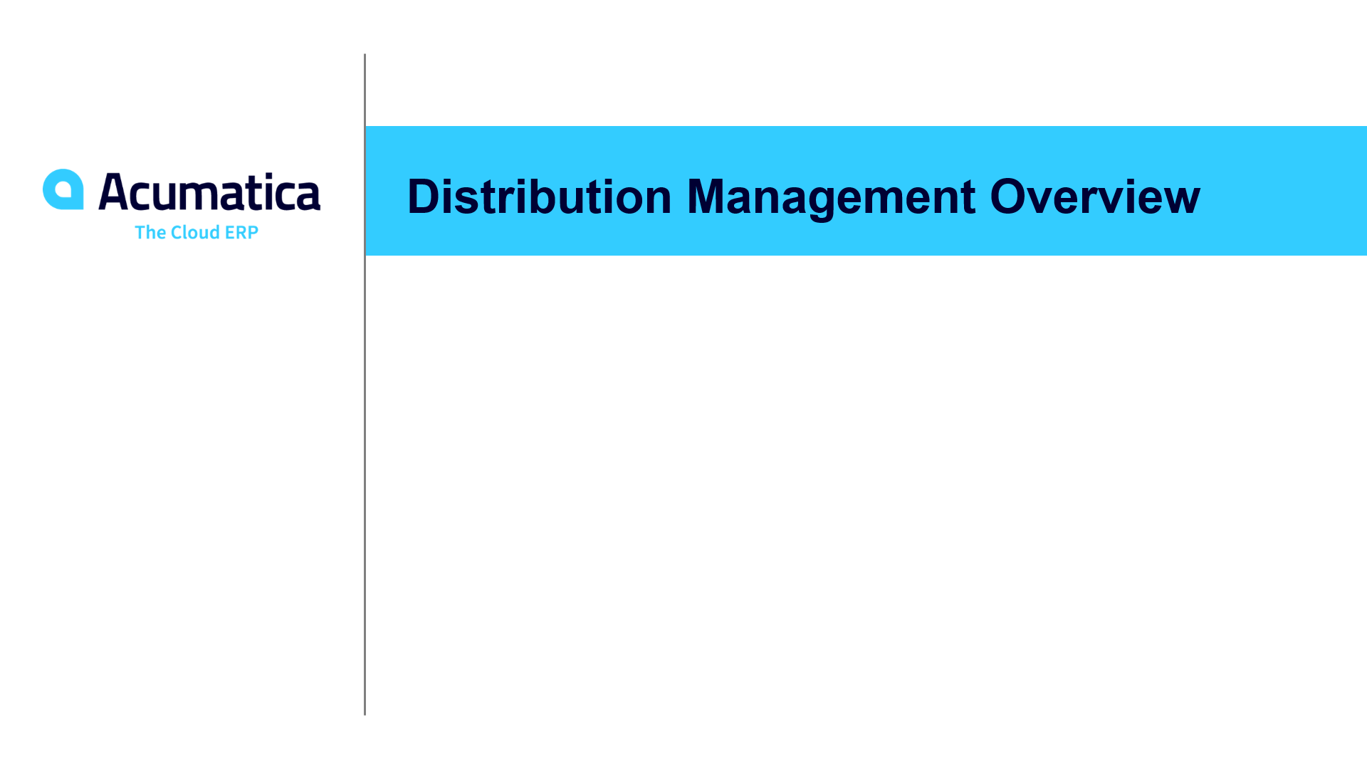 Distribution Management Overview
