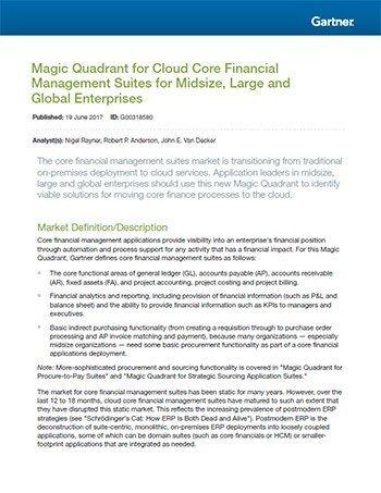 Gartner Magic Quadrant: Cloud Core Financial Management Suites for Midsize, Large and Global Enterprises
