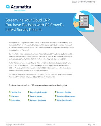 Streamline Your Cloud ERP Purchase Decision with G2 Crowd's Latest Survey Results