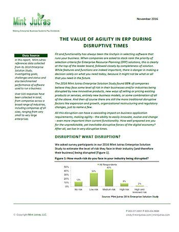 The Value of Agility in ERP During Disruptive Times