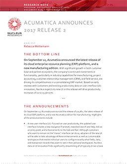 Acumatica Announces 2017 2017 Release 2