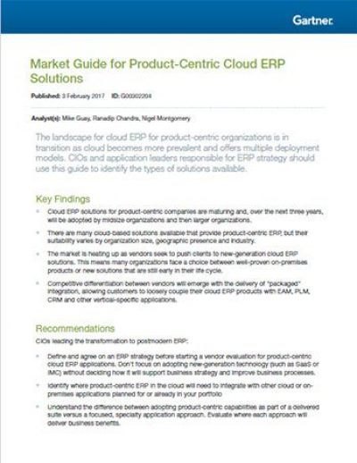Market Guide for Product-Centric Cloud ERP Solutions