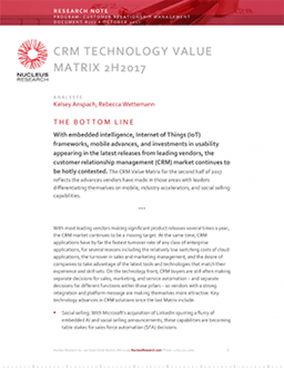 CRM Technology Value Matrix 2H 2017