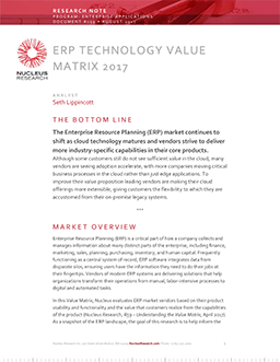 ERP Technology Value Matrix 2017