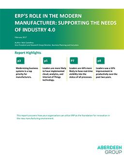 ERP's Role in the Modern Manufacturer: Supporting the Needs of Industry 4.0