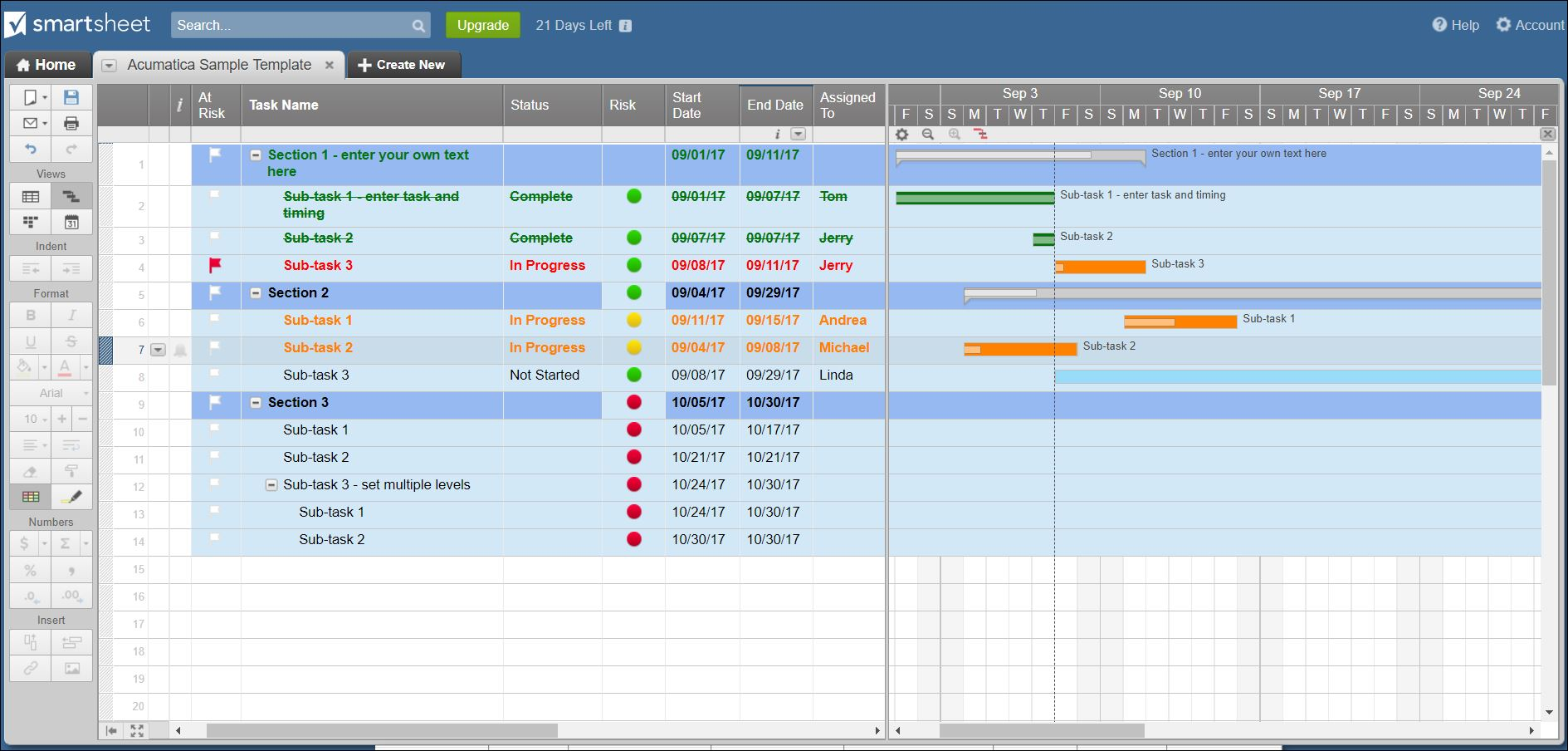 Smartsheet visual scheduling
