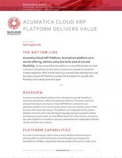 Acumatica Cloud xRP Platform delivers value