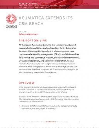 Acumatica Extends Its CRM Reach