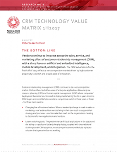 CRM Technology Value Matrix 1H 2017
