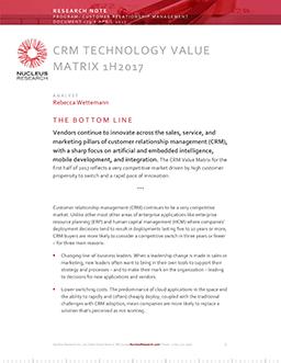 CRM Technology Value Matrix 1H 2017