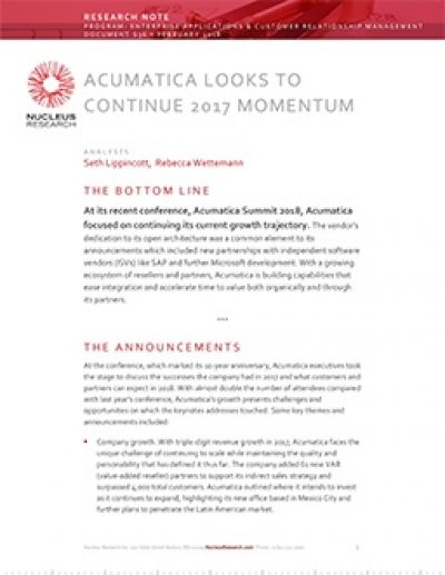 Acumatica looks to continue 2017 momentum