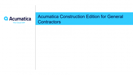 Acumatica Construction Edition for General Contractors