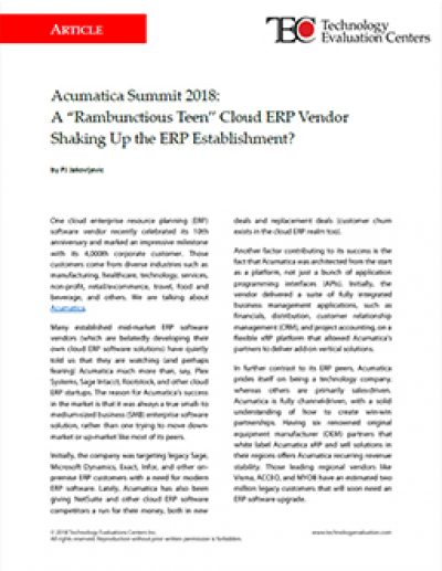 "Acumatica Summit 2018: A ""Rambunctious Teen"" Cloud ERP Vendor Shaking Up the ERP Establishment?"
