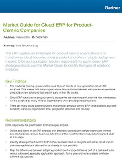 Market Guide for Cloud ERP for Product-Centric Companies (2018)