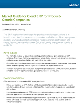 Market Guide for Cloud ERP for Product- Centric Companies (2018)