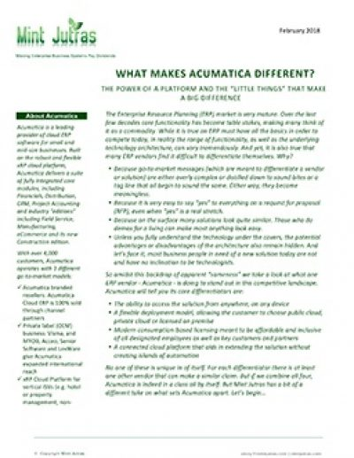 What Makes Acumatica Different