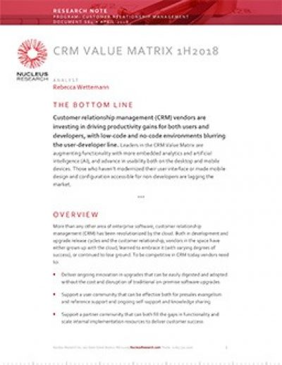 CRM Value Matrix H1 2018