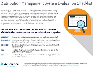 Compare distribution ERP systems with this free checklist.