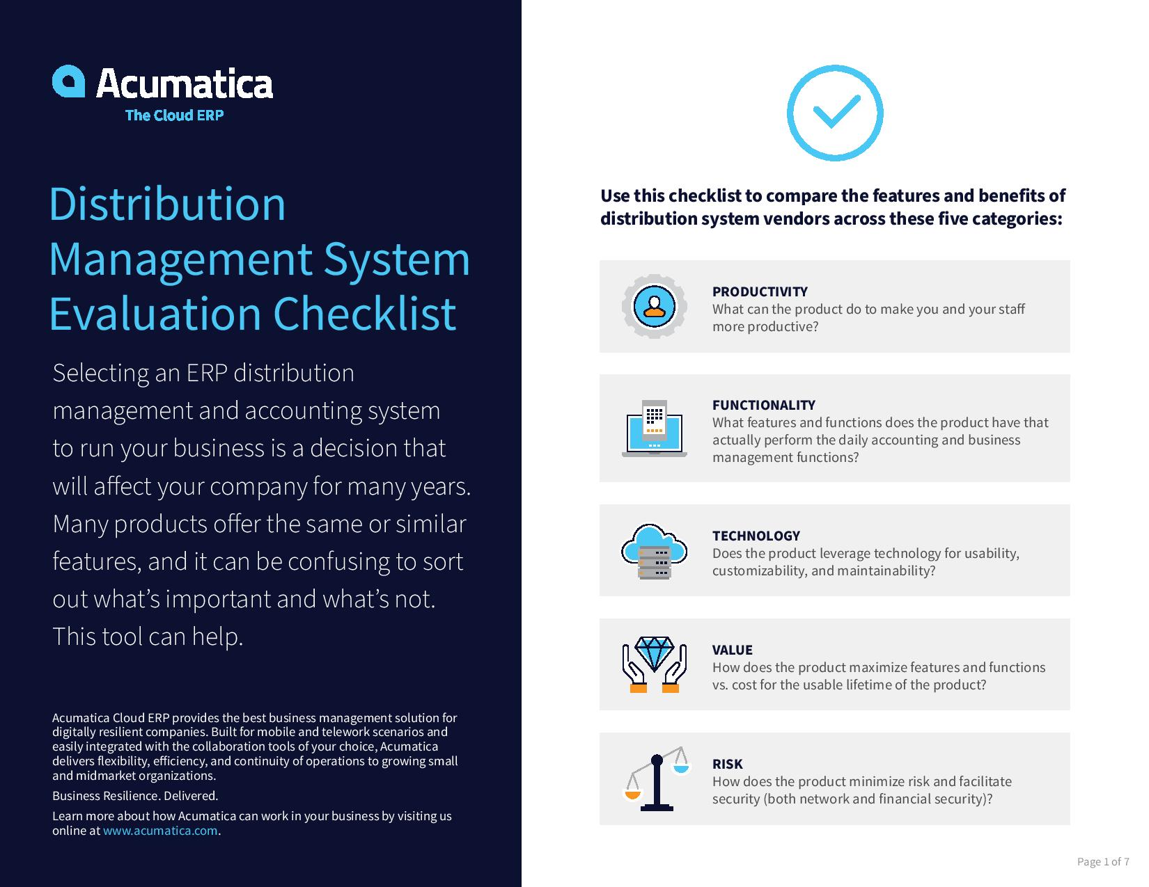 Compare distribution ERP systems with this free checklist., page 0