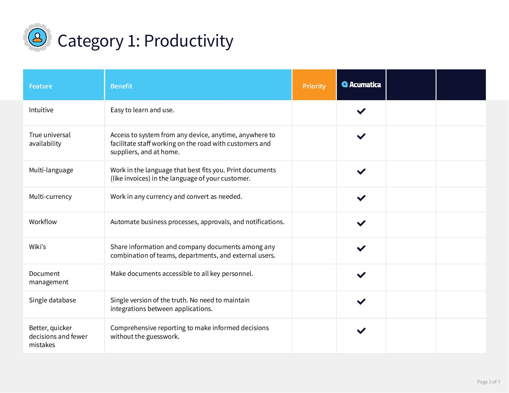 Compare distribution ERP systems with this free checklist., page 1