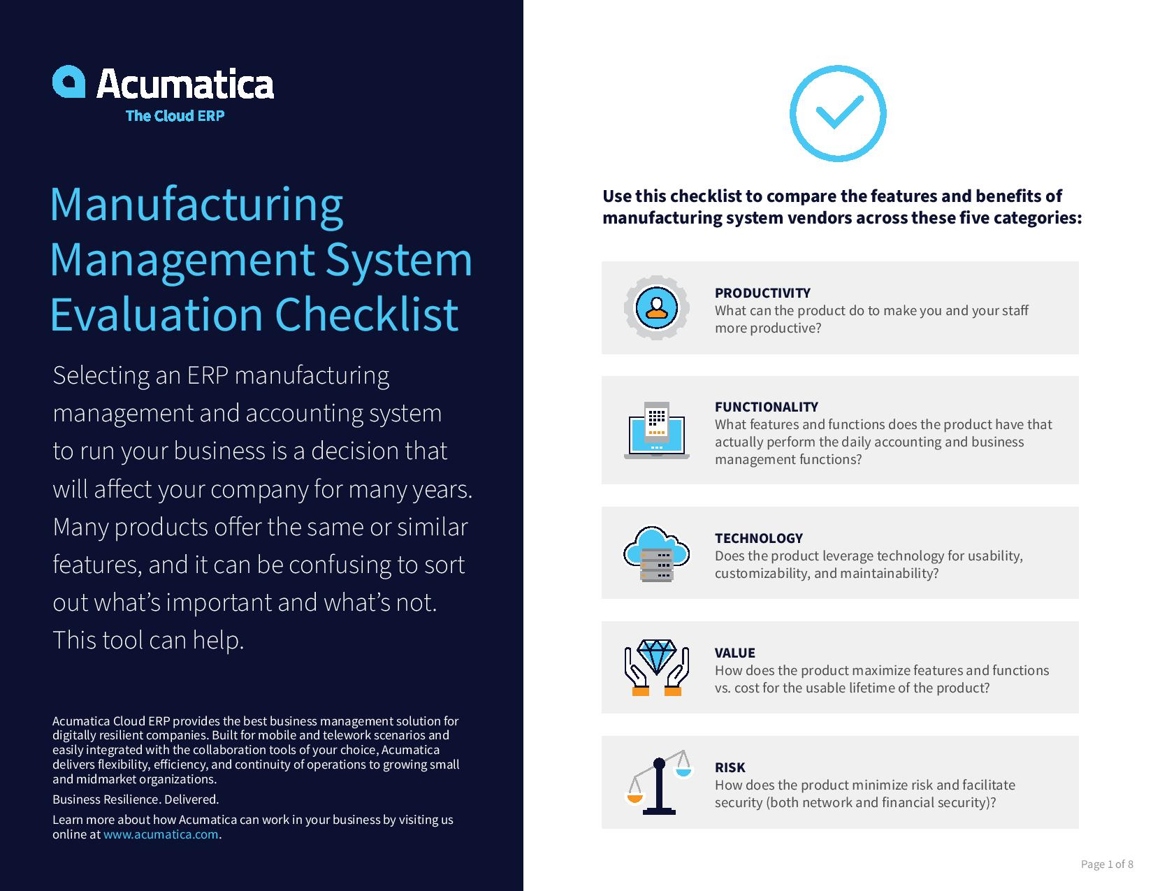 Find your ideal manufacturing management system with this free checklist., page 0