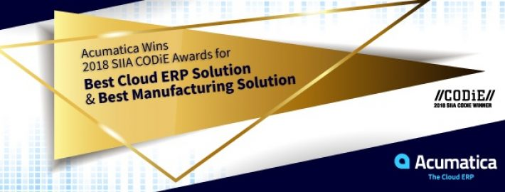 Acumatica Wins 2018 SIIA CODiE Awards for Best Cloud ERP Solution and Best Manufacturing Solution