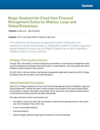 Gartner's Magic Quadrant for Cloud Core Financial Management Suites for Midsize, Large and Global Enterprises 2018