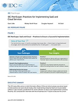 IDC PeerScape: Practices for Implementing SaaS and Cloud Services
