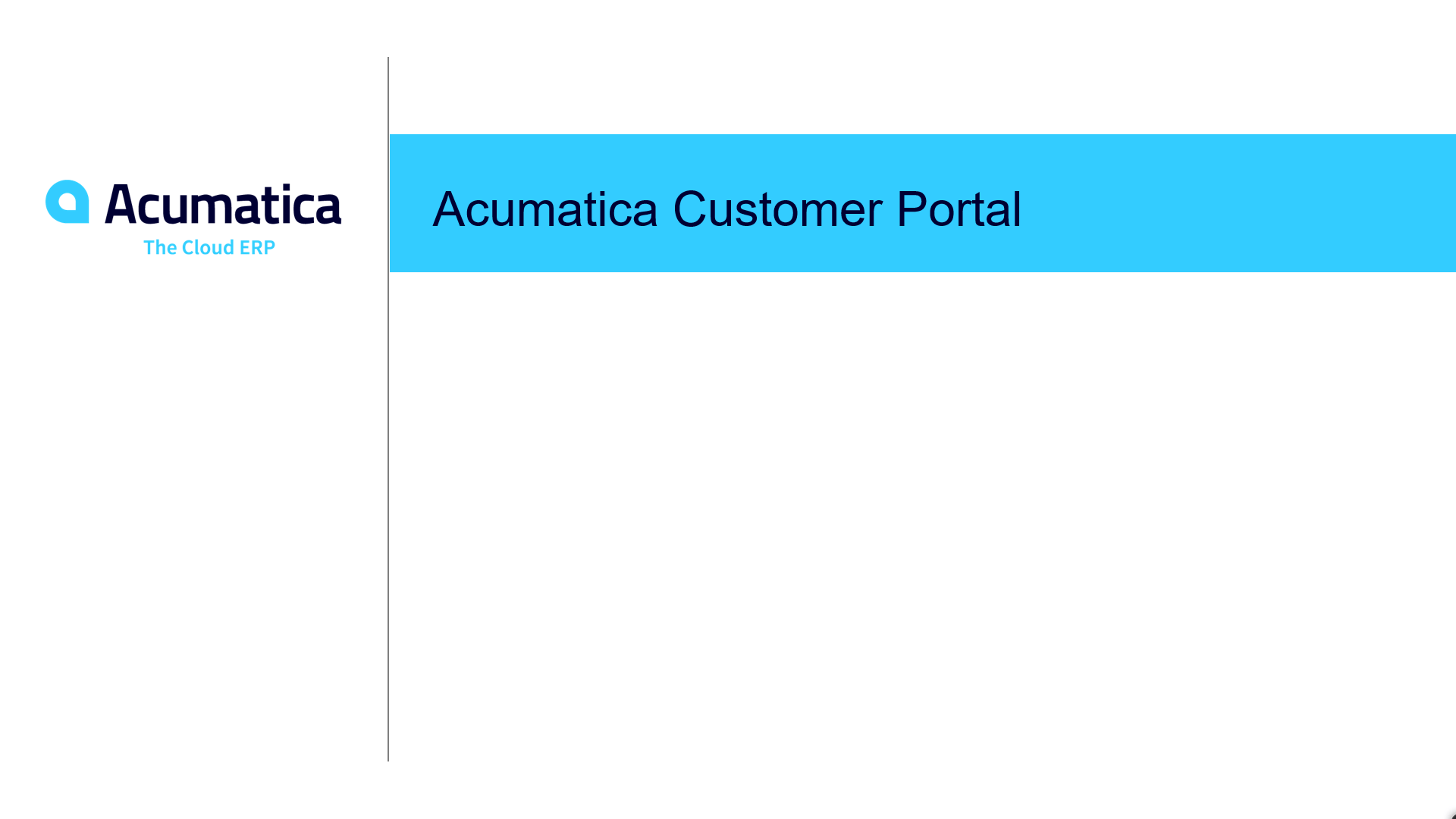 Acumatica Customer Portal