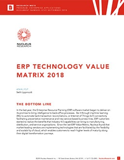 ERP Technology Value Matrix 2018