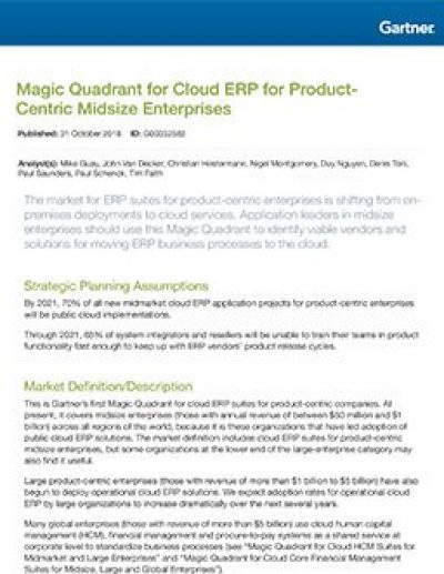 Magic Quadrant for Cloud ERP for Product-Centric Midsize Enterprises (2018)