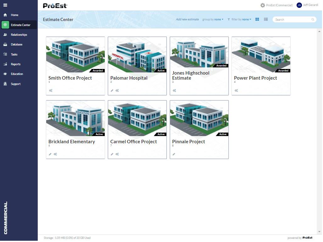 ProEst Cloud Estimate Center
