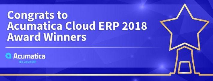 Congrats to Acumatica Cloud ERP 2018 Award Winners