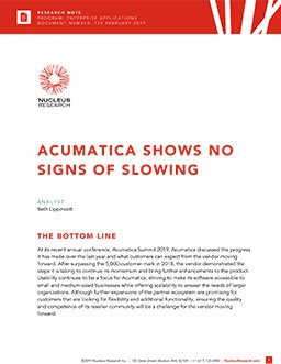 Acumatica Shows No Signs of Slowing