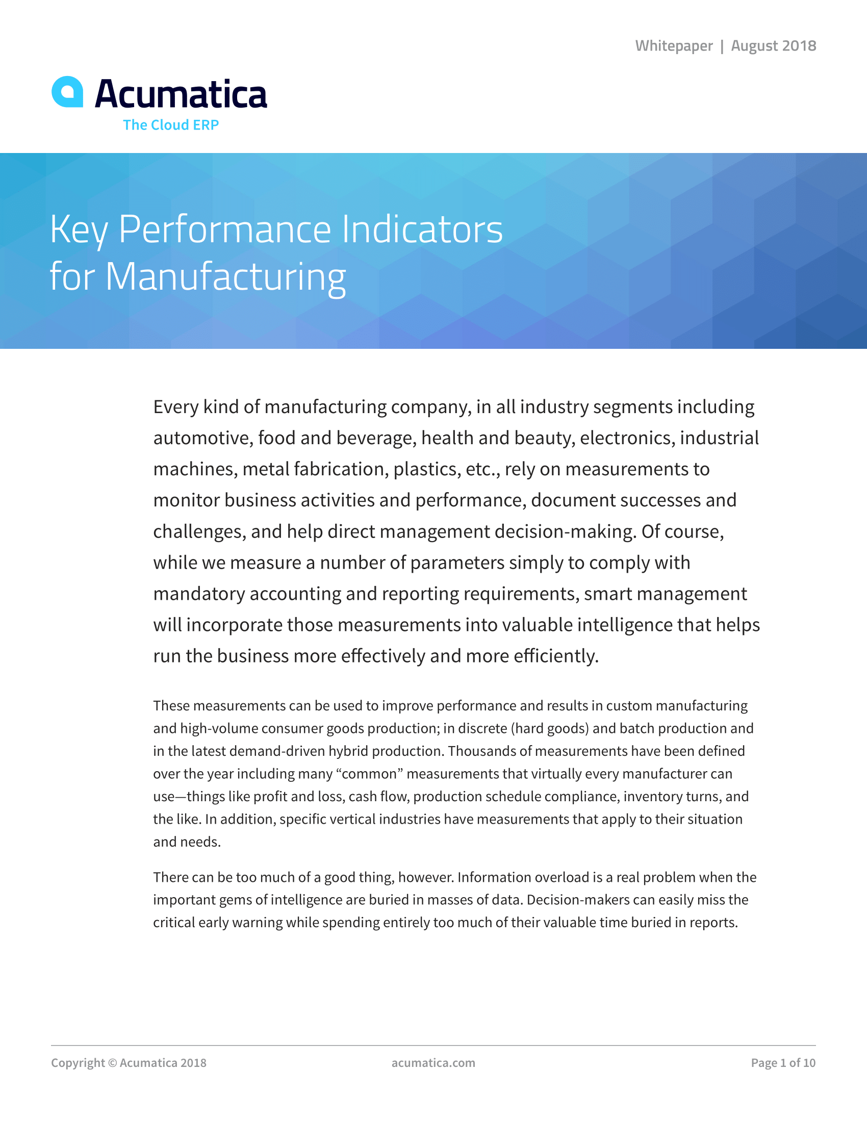 Key Performance Indicators for Manufacturing, page 0