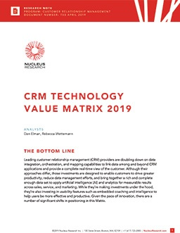 CRM Technology Value Matrix 2019