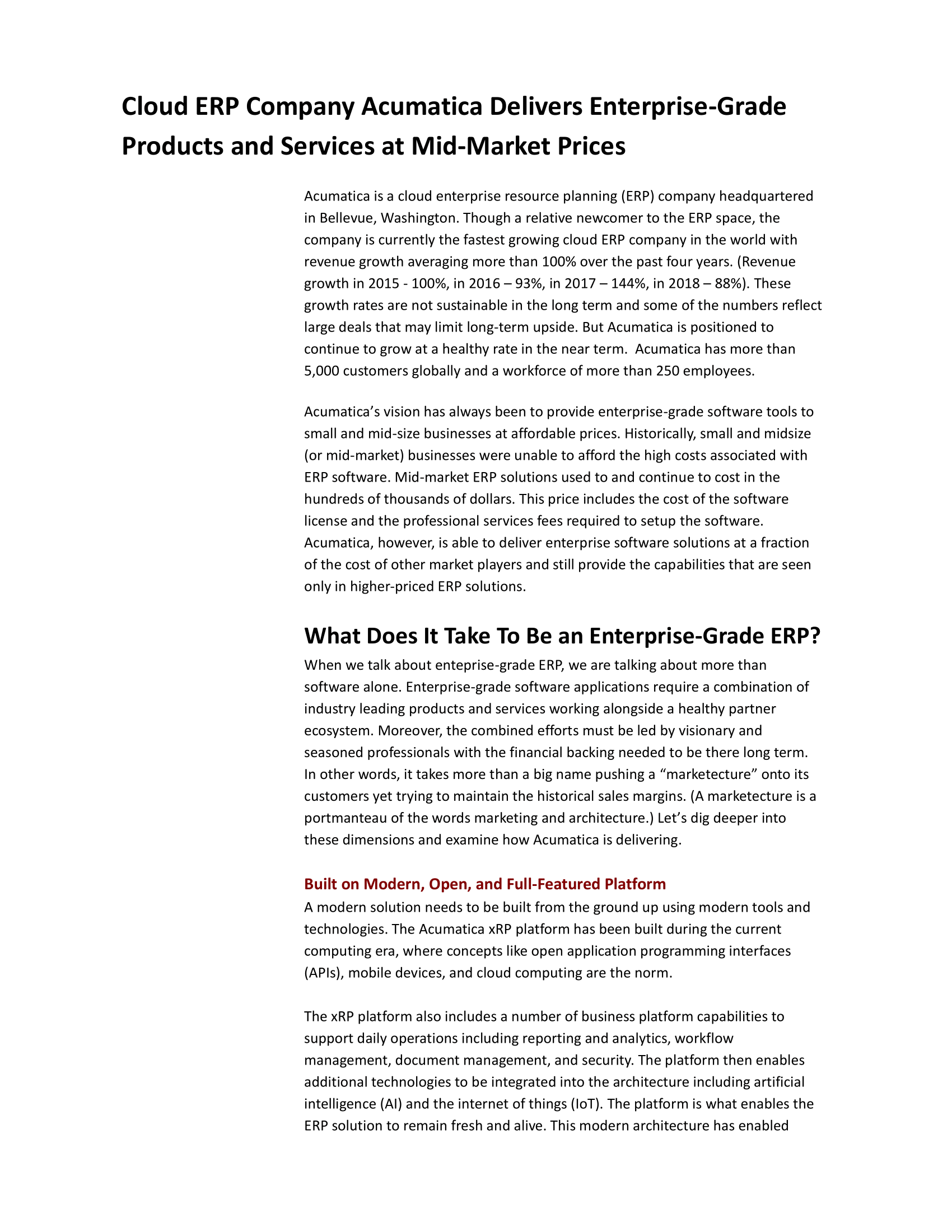 Enterprise Resource Planning Solutions: How to Get Big Functionality at a Reasonable Price, page 1