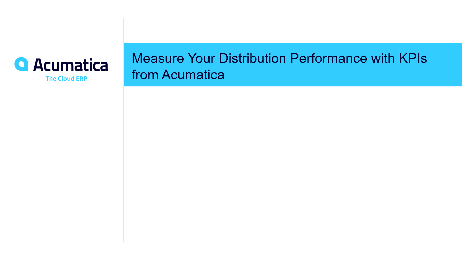 Measure Your Distribution Performance with KPIs from Acumatica