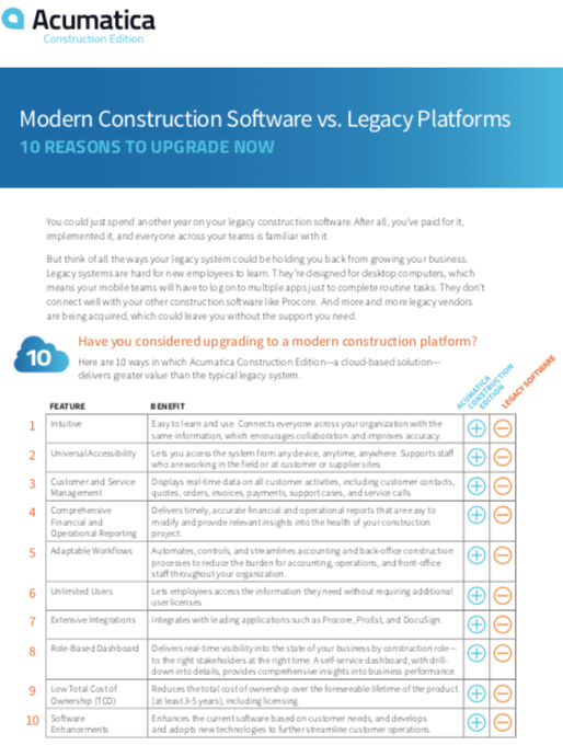 Modern Construction Software vs Legacy Comparison