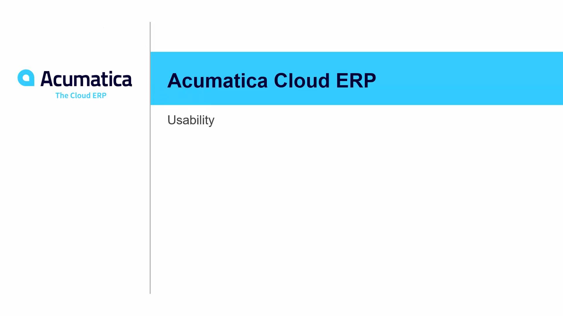 Acumatica Usability
