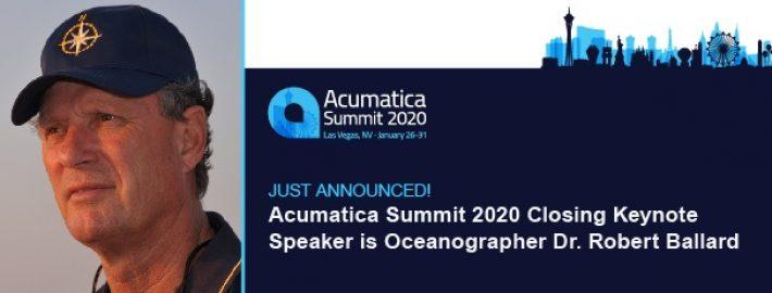 Just Announced! Acumatica Summit 2020 Closing Keynote Speaker is Oceanographer Dr. Robert Ballard