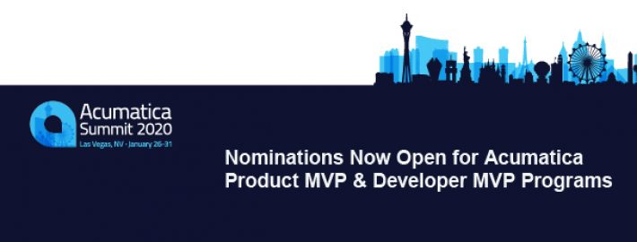 Nominations Now Open for Acumatica Product MVP & Developer MVP Programs